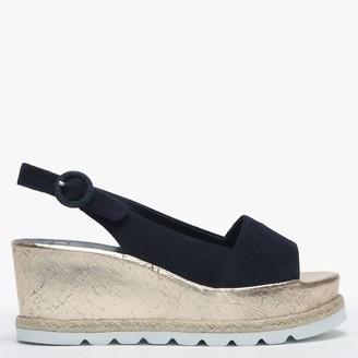Högl Blue Suede Low Cork Wedge Sandals
