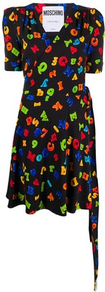 Moschino Letters Print Wrap Dress