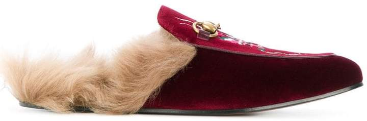 Gucci Princetown velvet embroidered slippers