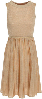 Missoni Pointelle-trimmed Pleated Ribbed-knit Mini Dress