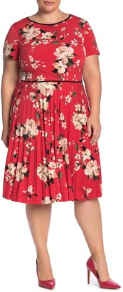Maggy London Short Sleeve Floral Pleated Dress (Plus Size)