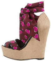 Gucci Printed Crossover Espadrille Wedges