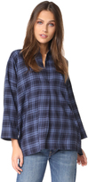 Vince Plaid Oversized Blouse