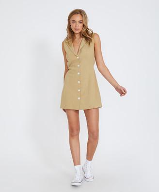 Subtitled Brady Button Through Dress Khaki