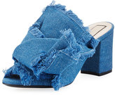 No.21 No. 21 Frayed Denim Block-Heel Mule Sandal, Blue