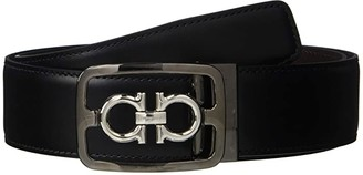 SILVER WITH GRAY feragamo Double gancini Belt Buckle  for 34-35mm leather strap