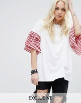 Reclaimed Vintage T-Shirt With Ruffle Sleeve