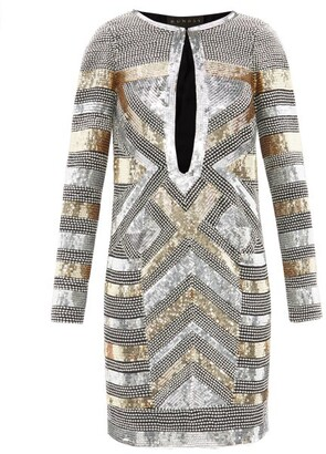 Dundas Sequin And Crystal-embellished Silk Mini Dress - Silver Gold