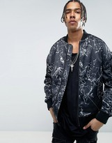 New Look Oversized Bomber With Print In Black