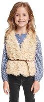 YAKUYIYI Girls Faux Fur Winter Outwear Vest with Belt