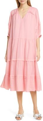 Sea Lucy Pleat Detail Tiered Cotton Midi Dress