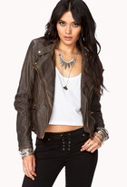 FOREVER 21 Contemporary Off-Duty Faux Leather Moto Jacket