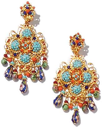 Jose & Maria Barrera Crystal Beaded Chandelier Earrings