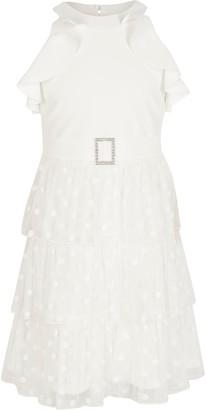 River Island Girls White halter neck mesh frill dress