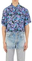Balenciaga Men's Leaf-Print Oversized Shirt