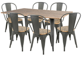 Lumisource Oregon Industrial Farmhouse Dining Set (7 PC)