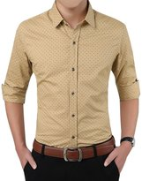 Zicac Men's 100% Cotton Skinny Thin Button Shirts (L, )