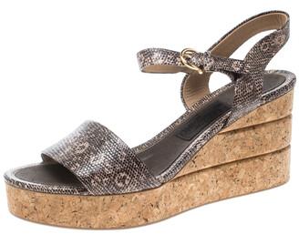 Salvatore Ferragamo Two Tone Embossed Lizard Leather Madea Cork Wedge Sandals Size 40