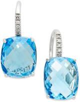 Macy's 14k White Gold Earrings, Blue Topaz (16 ct. t.w.) and Diamond Leverback Earrings