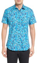 Jared Lang Men's Trim Fit Sailboat Print Sport Shirt