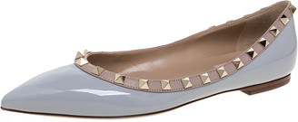 Valentino Pastel Grey/Beige Patent Leather Rockstud Trim Pointed Toe Ballet Flats Size 38.5