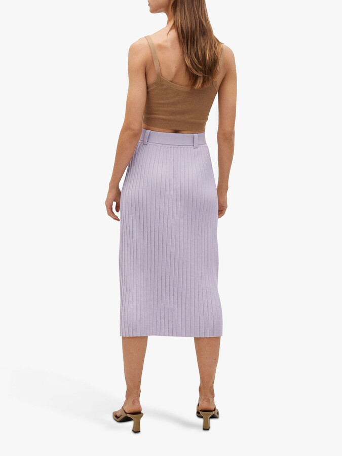 Thumbnail for your product : MANGO Fine Pleat Belted Skirt, Lilac