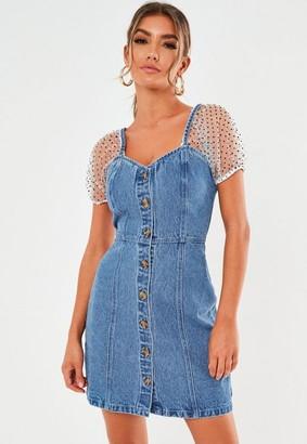 Missguided Blue Organza Puff Sleeve Denim Mini Dress