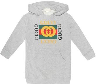 Gucci Kids Logo cotton hoodie dress