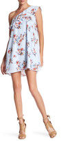 Just For Wraps Floral Ruffle One Shoulder Dress