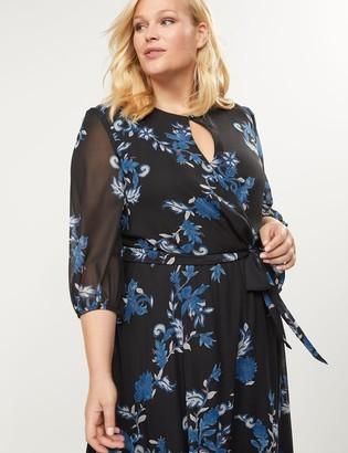 Lane Bryant Floral High-Low Ruffle Hem Dress