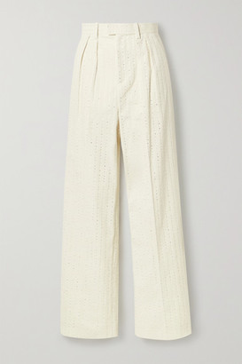 Marc Jacobs Pleated Crystal-embellished Cotton-corduroy Straight-leg Pants - Ivory