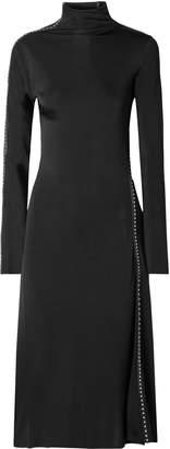 Helmut Lang Studded Faux Leather-trimmed Satin-jersey Turtleneck Midi Dress