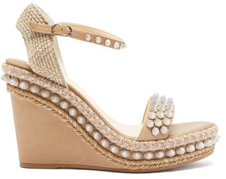 Christian Louboutin Lata Studded Leather Wedge Sandals - Tan