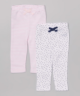 Bon Bebe Pink & White Butterfly Stripe & Dot Leggings Set - Infant