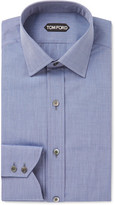 Tom Ford Blue Slim-fit End-on-end Cotton Shirt