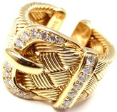 Hermes 18K Yellow Gold and .55ct Diamond Large Woven Buckle Band Ring Size 7