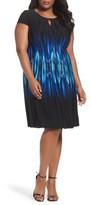 Tahari Plus Size Women's Flame Print A-Line Dress