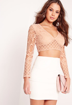 Missguided Lace Plunge Long Sleeve Crop Top Pink