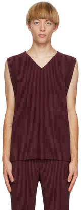 Homme Plissé Issey Miyake Burgundy Colorful Pleats Tank Top