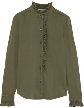 Frame Ruffle-trimmed Cotton-blend Twill Shirt