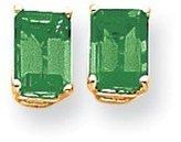 Goldia 14k Gold 7x5mm Natural Emerald Cut Natural Emerald Earring