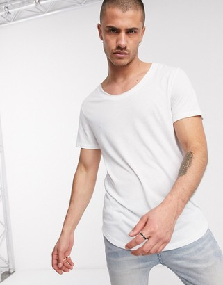 ASOS DESIGN longline t-shirt with curved hem and scoop neck in white linen mix