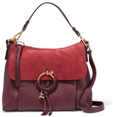 See by Chloe Joan Medium Suede-paneled Leather Shoulder Bag - Burgundy