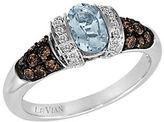LeVian Chocolatier Aquamarine, Chocolate Diamond, Vanilla Diamond and 14K White Gold Ring