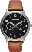 Arizona Mens Black Dial Brown Strap Watch