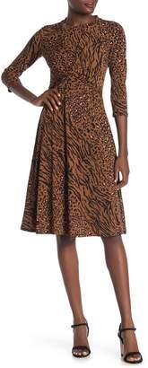 Donna Morgan 3/4 Sleeve Front Twist Animal Print Dress