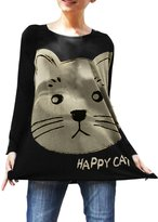 Allegra K Women Loose Fit Cartoon Cat Head Pattern Long Sleeve Tunic Top S