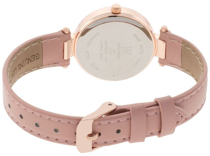 INC International Concepts Women's May Blush Leather Strap Watch and Bangle Set 30mm, Created for Macy's