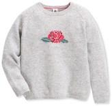 Petit Bateau Girls wool and cotton knit jacquard sweater