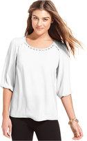 Amy Byer Three-Quarter-Sleeve Embellished Blouse